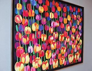 Beata Murawska : Tulips at night : Oil on Canvas