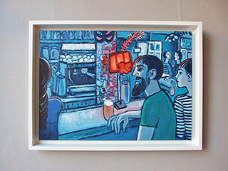 Krzysztof Kokoryn : Blue bar with a red lampshade : Oil on Canvas