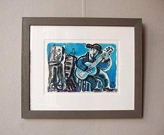 Krzysztof Kokoryn : Blue guitar player : Guache on paper