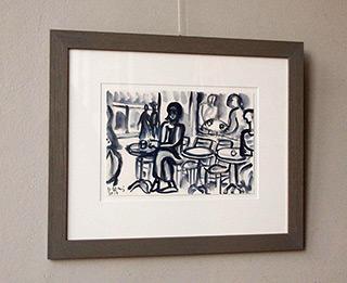 Krzysztof Kokoryn : In the cafeteria : Watercolour on paper