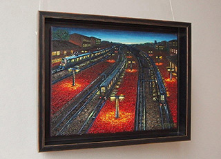 Adam Patrzyk : Sunset over the railway : Oil on Canvas