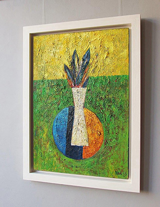 Darek Pala : Vase on a green background : Oil on Canvas