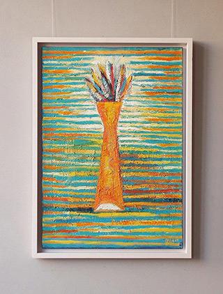 Darek Pala : Vase on a striped background : Oil on Canvas
