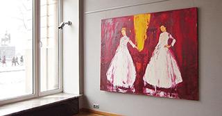 Jacek Łydżba : Two ladies : Oil on Canvas