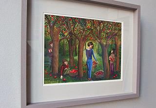 Katarzyna Karpowicz : In the apple orchard : Tempera on paper
