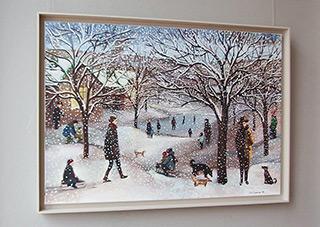 Katarzyna Karpowicz : Little town in the winter : Oil on Canvas