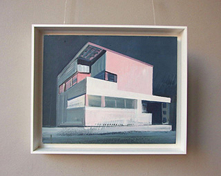 Maria Kiesner : A villa with a pink glow : Tempera on canvas
