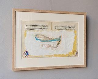 Jacek Łydżba : Boat on the sand : Tempera on old music sheet