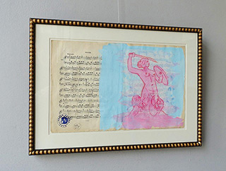 Jacek Łydżba : Mermaid from Warsaw : Tempera on old music sheet