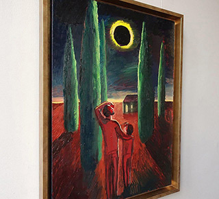 Katarzyna Karpowicz : Father and daughter, solar eclipse : Oil on Canvas