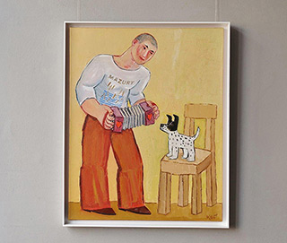 Krzysztof Kokoryn : Bandeon player and his small dog : Oil on Canvas