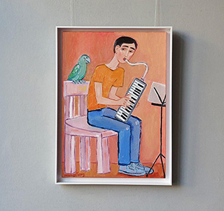 Krzysztof Kokoryn : Musician with parrot : Oil on Canvas