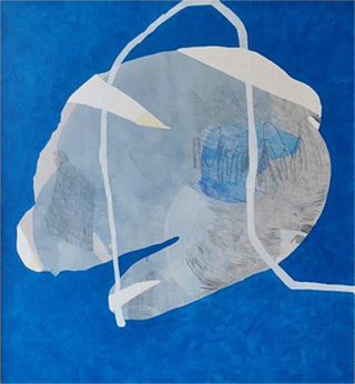 Agnieszka Sandomierz : Character in blues : Mixed media on canvas