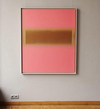 Anna Podlewska : Gold factor on pink : Oil on Canvas