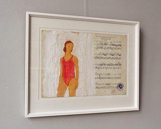 Jacek Łydżba : Swimmer : Tempera on old music sheet