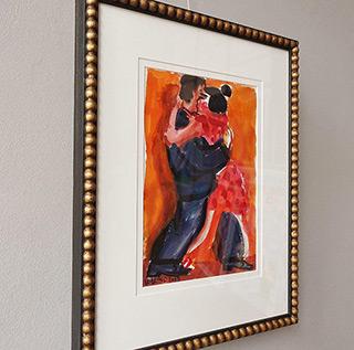 Krzysztof Kokoryn : Couple dancing tango : Tempera on paper