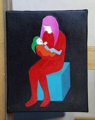 Katarzyna Castellini : Clown mother with a little child : Oil on Canvas