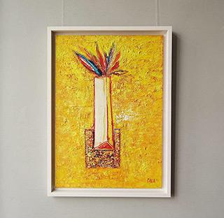 Darek Pala : White vase on a yellow : Oil on Canvas