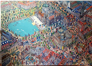 Edward Dwurnik : Hannover : Oil on Canvas