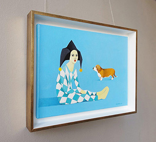 Katarzyna Castellini : Harlequin with basset : Oil on Canvas