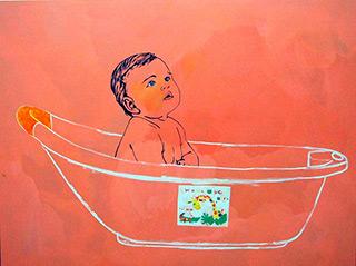 Agnieszka Sandomierz : Baby In Bath : Oil on Canvas