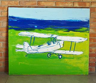 Jacek Łydżba : Airplane on green : Oil on Canvas