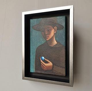 Katarzyna Karpowicz : Boy in a hat with a glass ball : Oil on Canvas