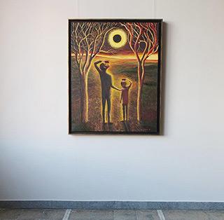 Katarzyna Karpowicz : Solar eclipse - Moment : Oil on Canvas