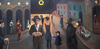 Katarzyna Karpowicz : Solar eclipse in a small town (Diptych) : Oil on Canvas