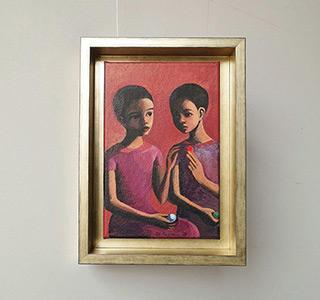 Katarzyna Karpowicz : Two girls with glass balls : Oil on Canvas