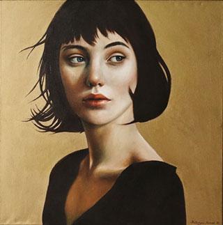 Katarzyna Kubiak : The girl from the golden wall : Oil on Canvas