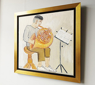 Krzysztof Kokoryn : Horn player : Oil on Canvas