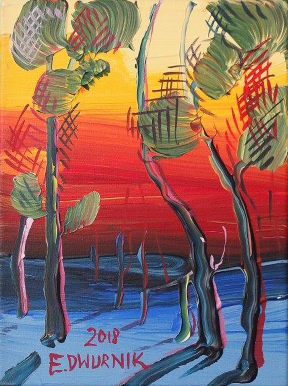 Edward Dwurnik : Polish landscape with trees No. 8