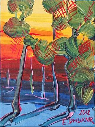 Edward Dwurnik : Polish landscape with trees No. 9 : Oil on Canvas