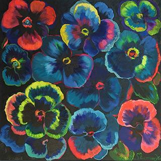 Beata Murawska : Mystical pansies : Oil on Canvas