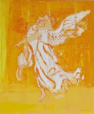 Jacek Łydżba : Guardian angel with yellow : Oil on Canvas
