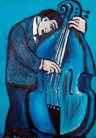 Krzysztof Kokoryn : Blue bass player : Oil on Canvas