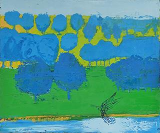Jacek Łydżba : Morning landscape with an angel : Oil on Canvas
