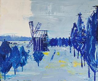 Jacek Łydżba : Winter landscape with a windmill : Oil on Canvas