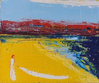Jacek Łydżba : Woman with a veil of smoke : Oil on Canvas