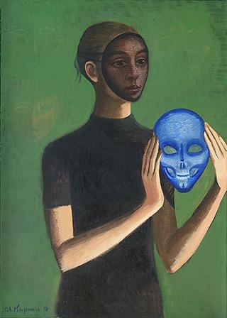 Katarzyna Karpowicz : Lady with blue mask : Oil on Canvas