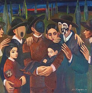 Katarzyna Karpowicz : Last meeting in sztetl : Oil on Canvas