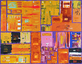 Krzysztof Pająk : DNA codes - orange : Acrylic on canvas