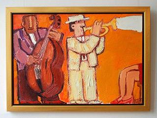 Krzysztof Kokoryn : White trumpet player : Oil on Canvas