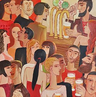 Krzysztof Kokoryn : In the bar : Oil on Canvas