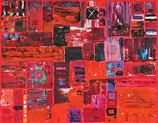 Krzysztof Pająk : DNA codes - Red : Acrylic on canvas