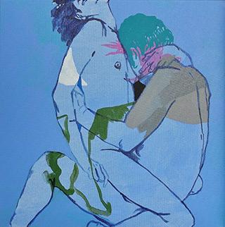 Agnieszka Sandomierz : Couple in ecstasy : Tempera on canvas