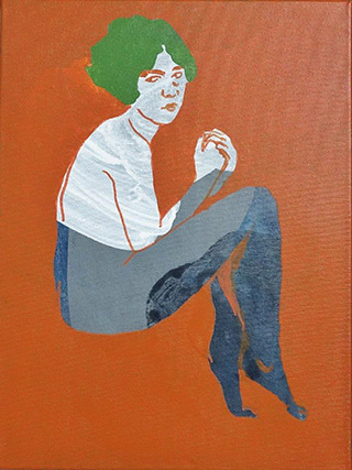 Agnieszka Sandomierz : Green-haired model : Tempera on canvas