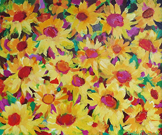 Beata Murawska : Fall night sunflowers : Oil on Canvas