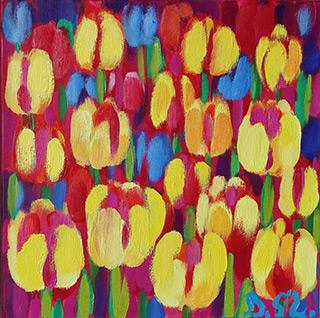 Beata Murawska : Little field of tulips : Oil on Canvas